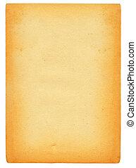 ark, av, gammal, fläckat, papper, isolerat, på, ren, vit