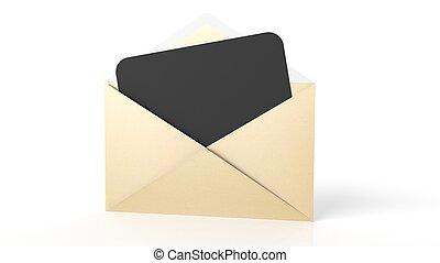 ark, kuvert, isolerat, gul, papper, svart, white., tom, öppna