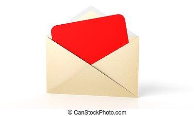 ark, kuvert, isolerat, gul, papper, white., tom, öppna, röd