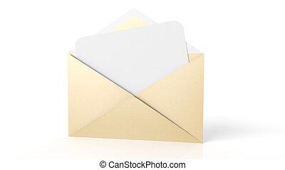 ark, kuvert, isolerat, gul, papper, white., tom, vit, öppna