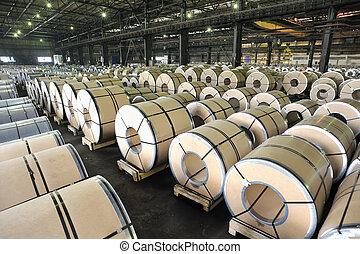 ark, rolls, stål, packat