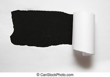 ark, sönderrivet, mot, papper, svart fond