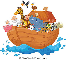 ark, spotprent, noah