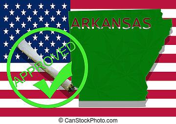 arkansas, auf, cannabis, hintergrund., droge, policy., legalization, von, marihuana, auf, usa markierung