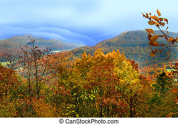 Gold and Orange glows in the autumn leaves of the Ozark Mountains in northern Arkansas. Misty clouds roll over the valley.