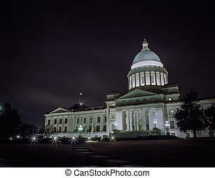 Arkansas Capitol Buidling on a very cloudy night.