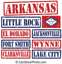 Arkansas Cities stamps - Set of Arkansas cities stamps on...