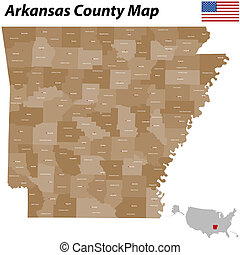Arkansas County Map - The map of Arkansas with all counties...