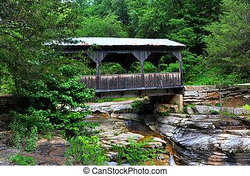Arkansas Covered Bridge - Wooden covered bridge spans small ...