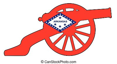 Arkansas Flag With Civil War Cannon Silhouette - Typical ...