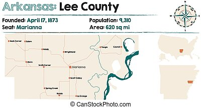 Arkansas: Lee county map - Large and detailed map of...