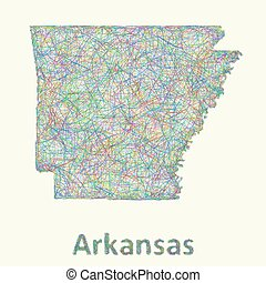 Arkansas line art map