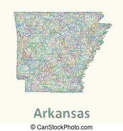 Arkansas line art map