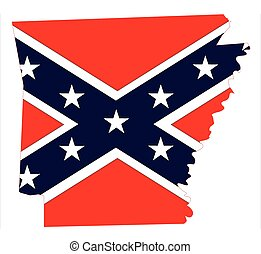 Arkansas Map And Confederate Flag - State map outline of...