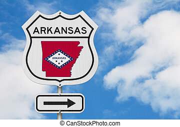 Arkansas map and state flag on a USA highway road sign