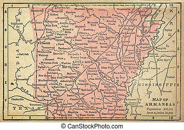 Arkansas Map - Map of Arkansas, circa 1880 showing...