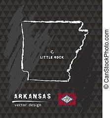 Arkansas map, vector pen drawing on black background
