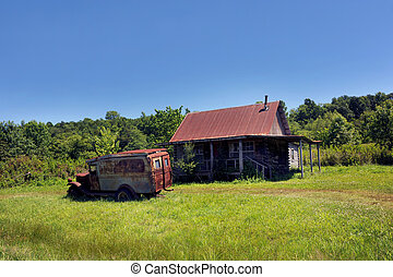 Arkansas Nostalgia - Old jalopy sits in yard of abandoned ...