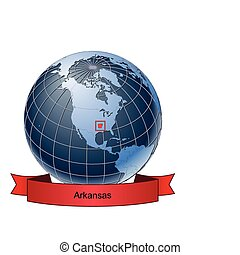 Arkansas, position on the globe Vector version with separate...