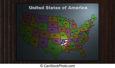 Arkansas pull out from USA states abbreviations map - State...