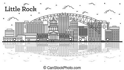 arkansas, réflexions, rocher, isolé, peu, ville bâtiments, ...