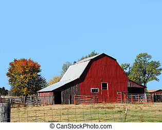 Arkansas Red Tin Covered Barn