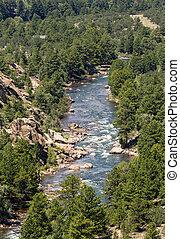 Arkansas River in Colorado - View down Arkansas River near ...