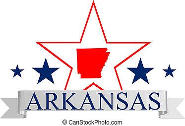 Arkansas star - Arkansas state map, star, and name.