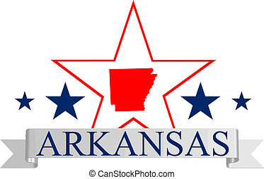 Arkansas star - Arkansas state map, star, and name.