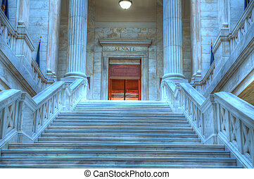 Arkansas State Capital - Marble steps leading to the state...