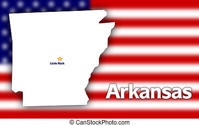 Arkansas state contour with Capital City against blurred USA...