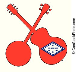 Arkansas State Flag Banjo And Guitar Silhouette