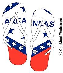 Arkansas State Flag Flip Flop Shoes