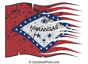 Arkansas State Flag Wavy And Grunged