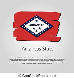 Arkansas State Flag with colored hand drawn lines in Vector Format