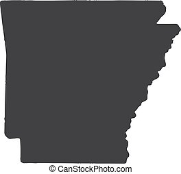Arkansas state map in black on a white background. Vector illustration