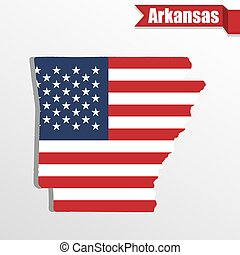 Arkansas State map with US flag inside and ribbon