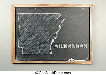 Arkansas State - Outlined Arkansas US state on grade school...