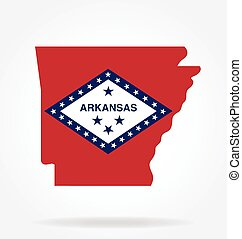 arkansas state shape with flag logo vector