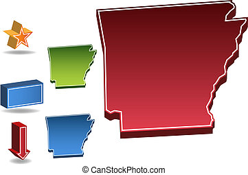 Arkansas State - map of the state of Arkansas.