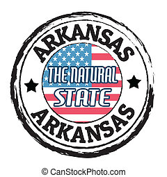 Arkansas, The natural state stamp - Grunge rubber stamp with...