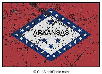 arkansas, tillstånd flagg, grunged
