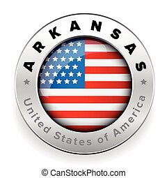 Arkansas Usa flag badge button