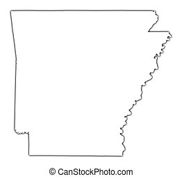 Arkansas(USA) outline map with shadow. Detailed, Mercator projection.