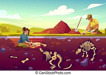 arkeologi, forskare, framgrävning, arbete