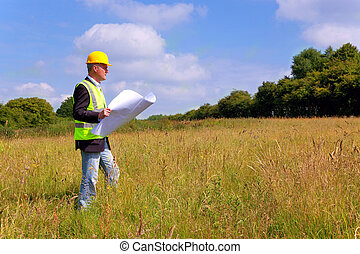 arkitekt, överblickande, a, färsk, byggnad, tegen