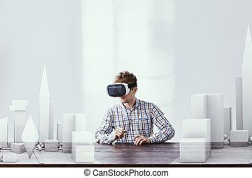 arkitekt, användande, vr, goggles