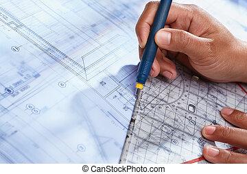 arkitekt, arbejde på, hus, deisgn