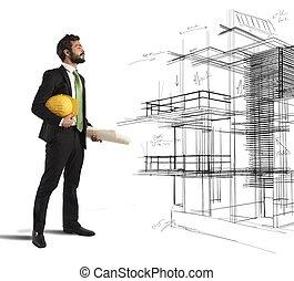 arkitekt, föreställer, a, projekt