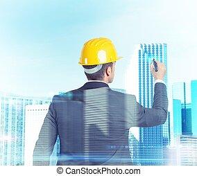 arkitekt, formen, 3, bygger